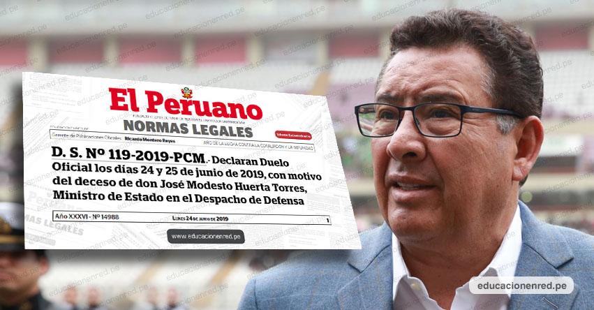 Gobierno declara dos días de Duelo Oficial por deceso de Ministro de Defensa José Huerta (D. S. Nº 119-2019-PCM)