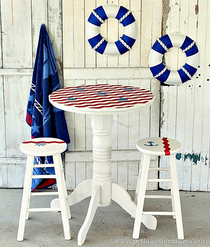 Nautical themed pub table in red, white and blue