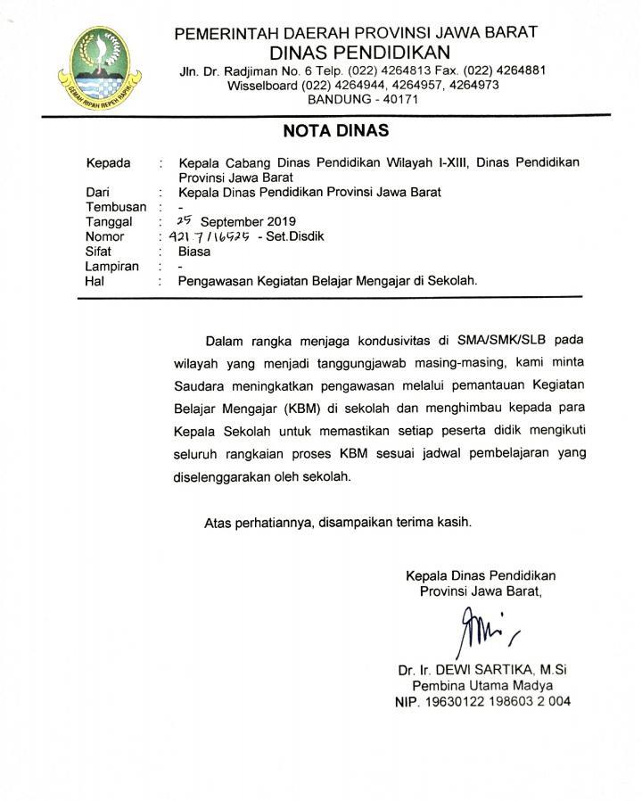 Contoh Surat Nota Dinas
