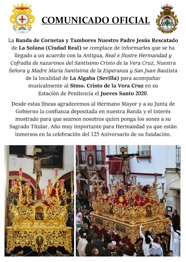 Vera-Cruz de La Algaba contrata para el 2020 a la Banda Ntro. Padre Jesús Rescatado, La Solana (Ciudad Real)