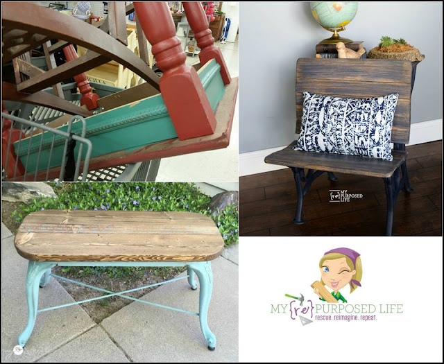 yard sale finds, school desk makeover, repurposed bar stool
