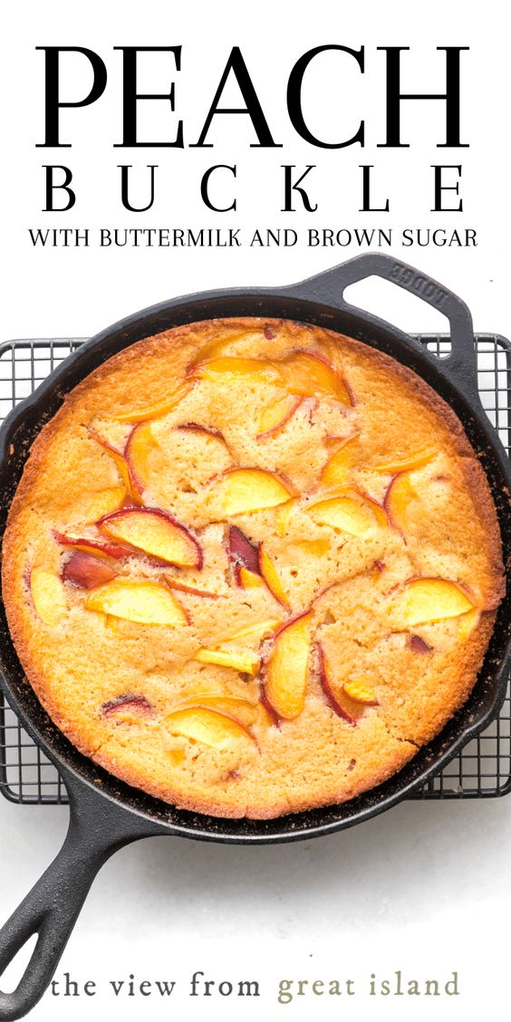 My classic Peach Buckle is made with buttermilk, brown sugar, and a boatload of juicy peaches. This quick one bowl recipe is just what you want in summer when ripe fruit is rolling in faster than you can gobble it down.