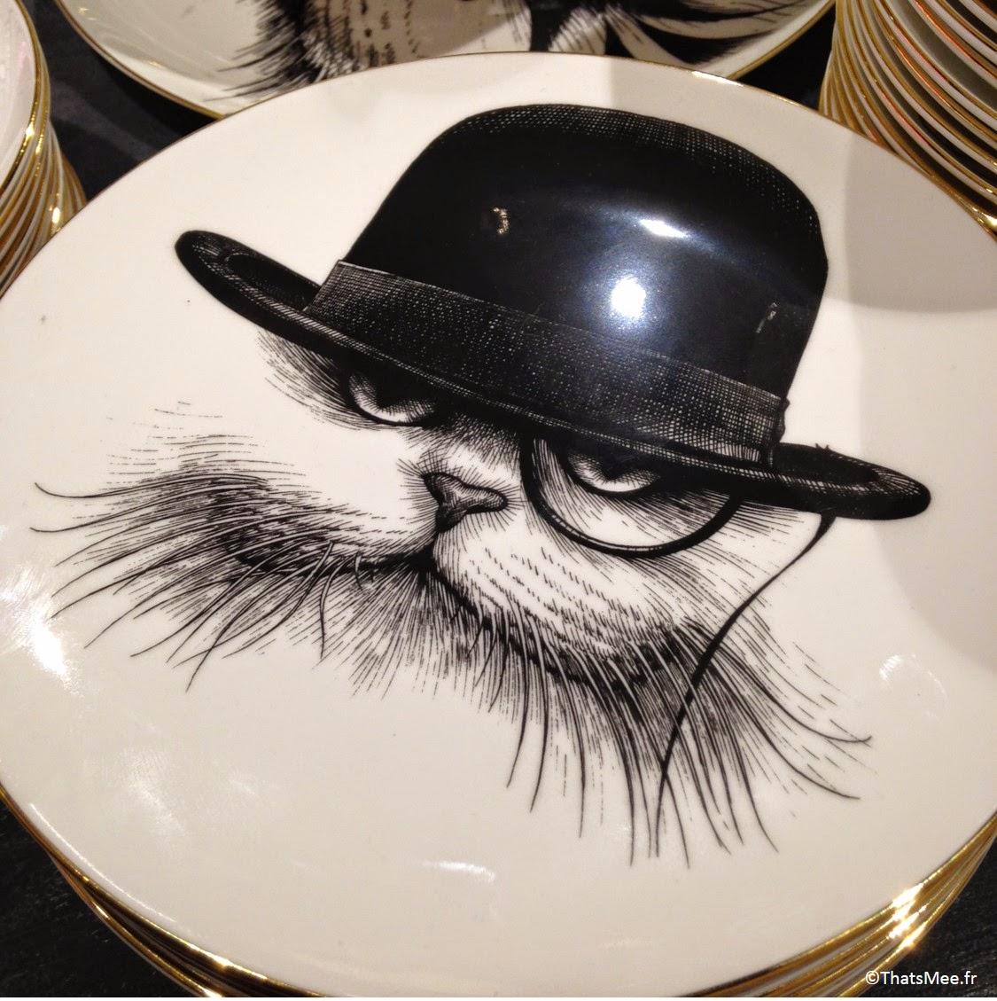 vaisselle assiette céramique noir et blanc chat noir blanc monocle chapeau ssu Liberty London magasin Regent Street