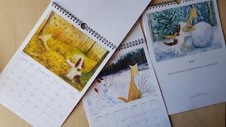 Kuvia uudesta Hulmu ja Haukku seinäkalenterista