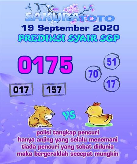 Prediksi Sakuratoto SGP Sabtu 19 September 2020