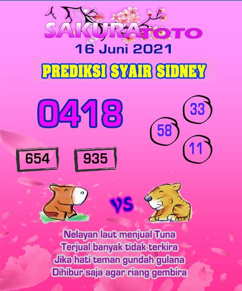Syair Sakuratoto Sidney Rabu 16 Juni 2021