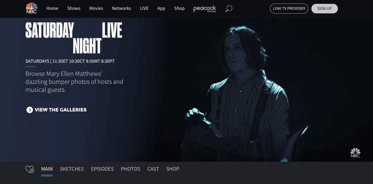 Screengrab of SNL's dark mode homepage