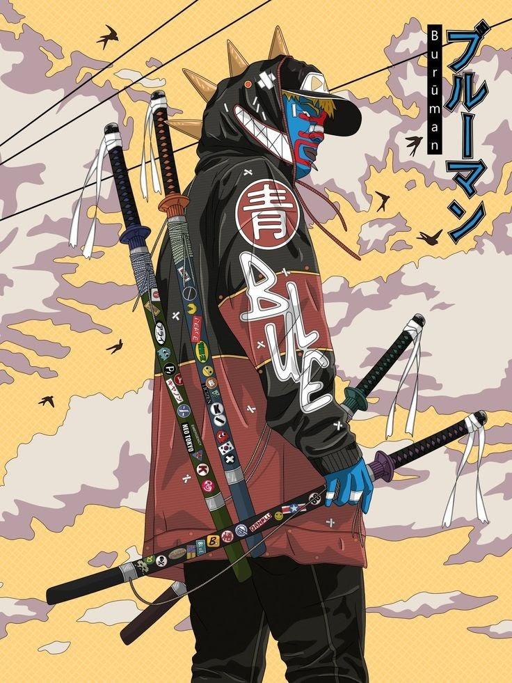 Referensi Sketsa Dan Wallpaper Anime Berpedang Keren Urban Samurai Pikipo