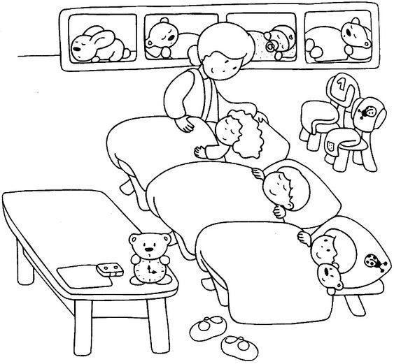 Hình tô cô giáo mầm non cho bé ngủ