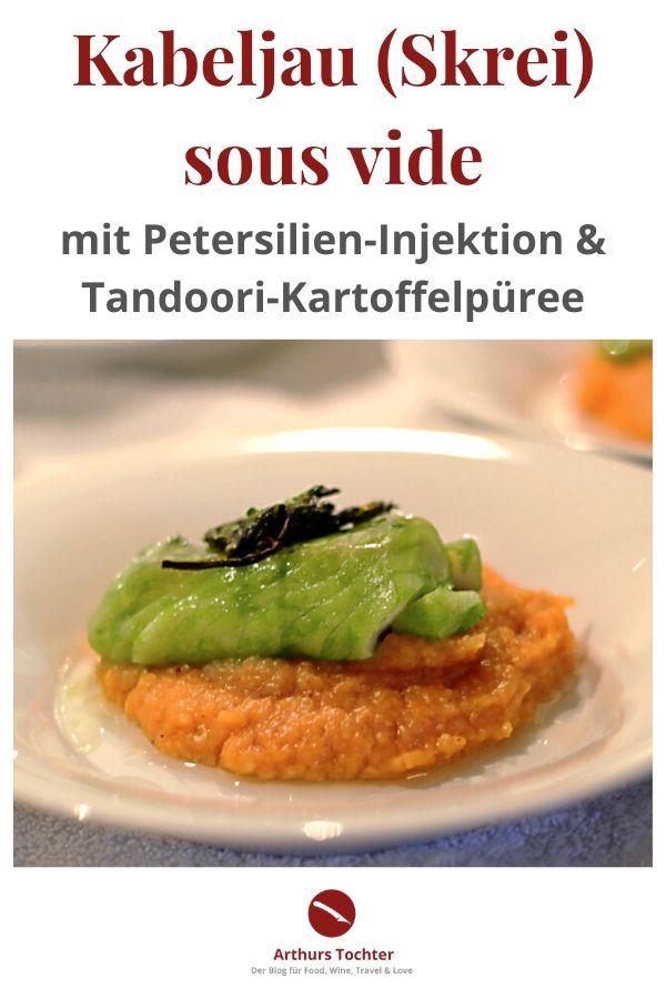 Ein Rezept für die Sterneküche zuhause!  Kabeljau/Skrei sous vide mit Petersilieninjektion auf Tandoori-Kartoffelpüree nach Thomas Bühner #fisch #sternekoch #bühner #skrei #kabeljau #braten #dünsten #einfach #sousvide #garen #kräuter #tandoori #indisch #sterneküche #kochbuch #lafer #jamieoliver #mälzer #rosin #linster #rezept #anleitung #foodblog #arthurstochter #foodstyling #dampfgarer #stick #temperatur #püree #kartoffelpüree #kartoffeln #stampf #rheinhessen