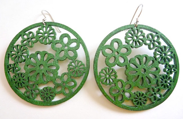 Wood Floral Earrings with Emerald Paint