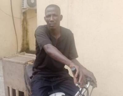 Man arrested for stealing a Police bike during ENDSARS Protest