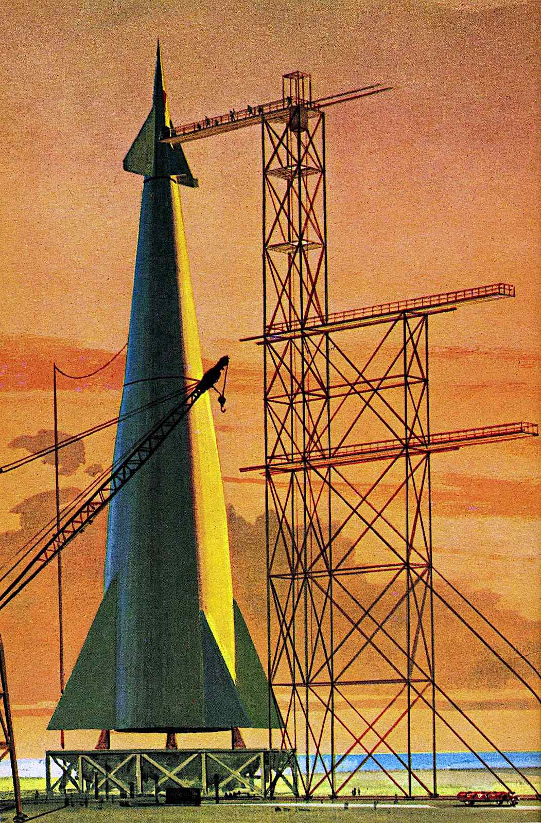 a John Polgreen illustration of a rocket on a launch pad with orange sky