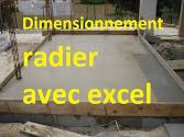dimensionnement d'un radier béton armé, calcul radier excel, note de calcul radier, feuille de calcul radier, exemple de calcul d'un radier général,