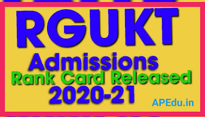RGUKT Admissions 2020-21: Rank Card Released
