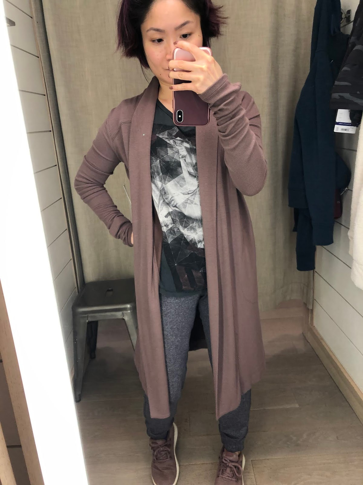 Petite Impact Fit Review Friday Athleta Store Try Ons Canopy Wrap In Nirvana Tugga Long Sherpa Jacket Takin It Easy Jogger