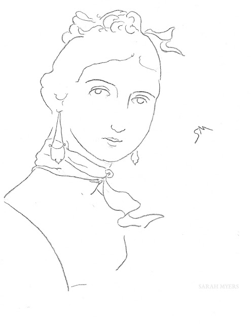 art, arte, sketch, drawing, minimal, Sarah, Myers, charcoal, minimalism, woman, lady, figurative, contemporary, simple, line, line-drawing, portrait, minimalist, dibujo, face, head, fashion, scarf, earrings
