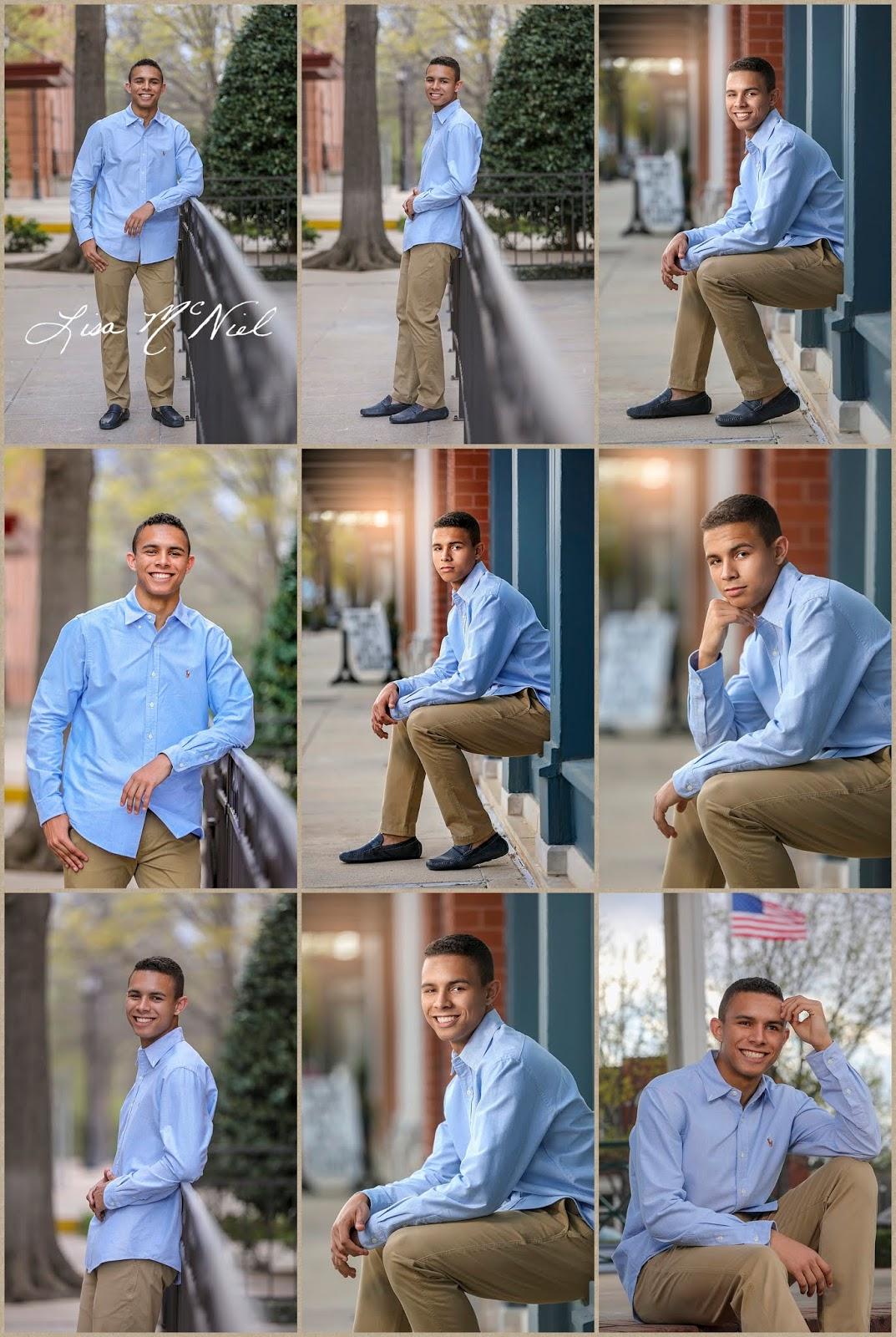 poses for high school senior boys