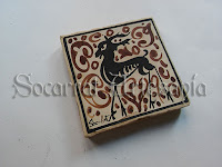 Socarrat del siglo XV con ciervo estilizado en manganeso. Soc-Art