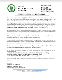 Accra Ghana Ban Drumming And Noise Making Today To End June 10, Do Not Play Out Your Music
