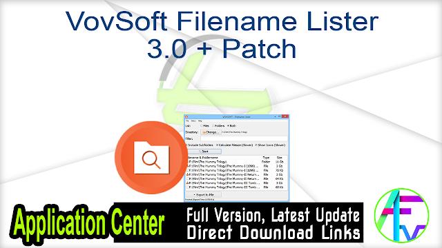 VovSoft Filename Lister 3.0 + Patch