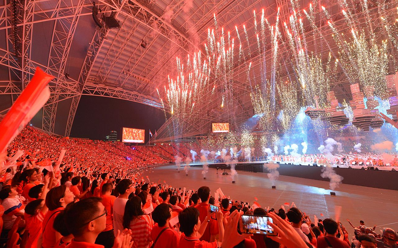 he audience enjoying indoor fireworks at the National Stadium, on Aug 9, 2016.