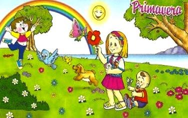Dibujo de la primavera a colores para niños