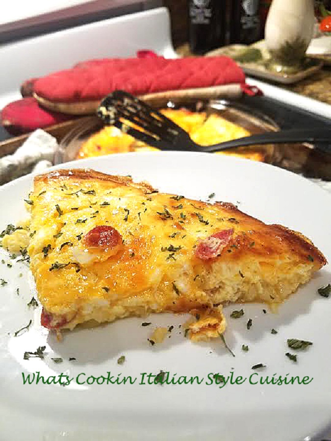 This is a baked frittata with melted cheeses on top. This frittata is mom's recipe and baked in the oven as an alternative to pan fried on the stove top. It has potatoes, pepperoni and eggs in it.
