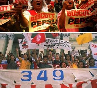 Demo warga menuntut pembayaran undian pepsi-cola.