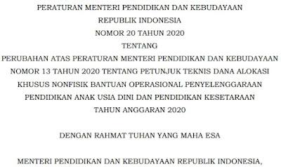 Download Permendikbud Nomor 20 Tahun 2020 Tentang Perubahan Juknis BOP PAUD dan Pendidikan Kesetaraan