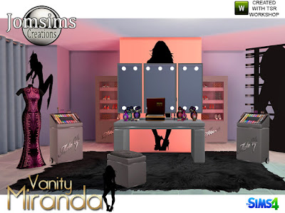miranda vanity Beauty set Миранда тщеславие Набор красоты для The Sims 4 Новая зона красоты для ваших симов. Миранда Вэнити. Смеси, современность и красота. Зеркальный стол в 4 цветах, найти в категории зеркало. Табурет, 4 цвета, найти в категории, обеденный стул. Макияж комплект 4 цвета, беспорядок. Помада закрыта 4 цвета, беспорядок. Помада открытая, 4 цвета, беспорядок. 2 наклейки на стену черные. 1 шкаф деко с обувью, разно деко. 1 лоток для макияжа деко, разно деко. 1 разделитель черный, разное дек. 2 парфюма деко беспорядок. подсветка для настольного зеркала. найти в категории торшер. 14 новых предметов. Автор: jomsims