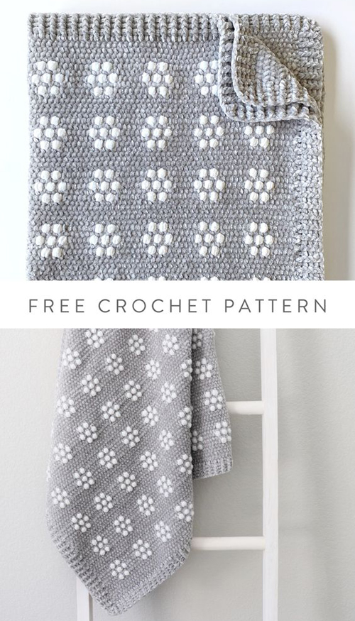Crochet Velvet Flower Rows Baby Blanket - Free Pattern