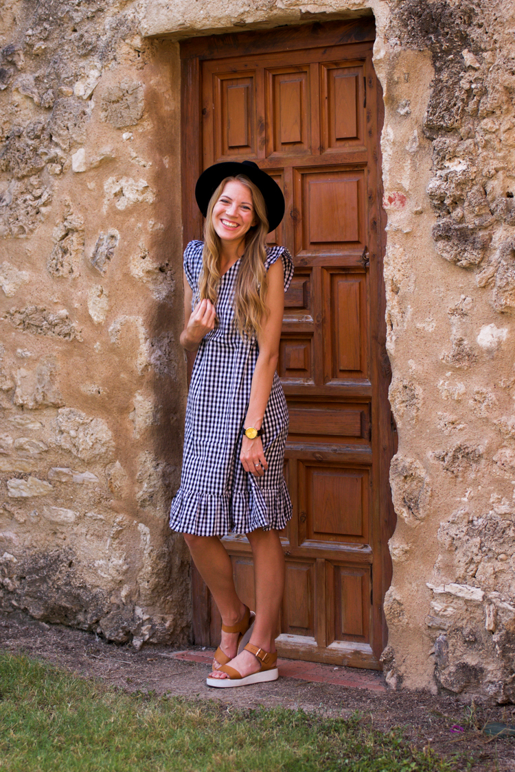 Modest Knee Length Gingham Dress