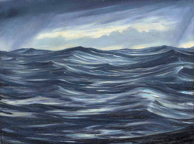 a C.R.W. Nevinson painting of big blue waves in a rough sea