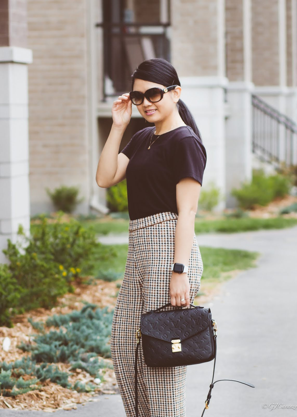 Zara Houndstooth High Waisted Pants | Coach Kailee Mule With Paillettes | Gucci Sunglasses | Louis Vuitton Pochette Metis in Black Empreinte Leather | Petite Fashion