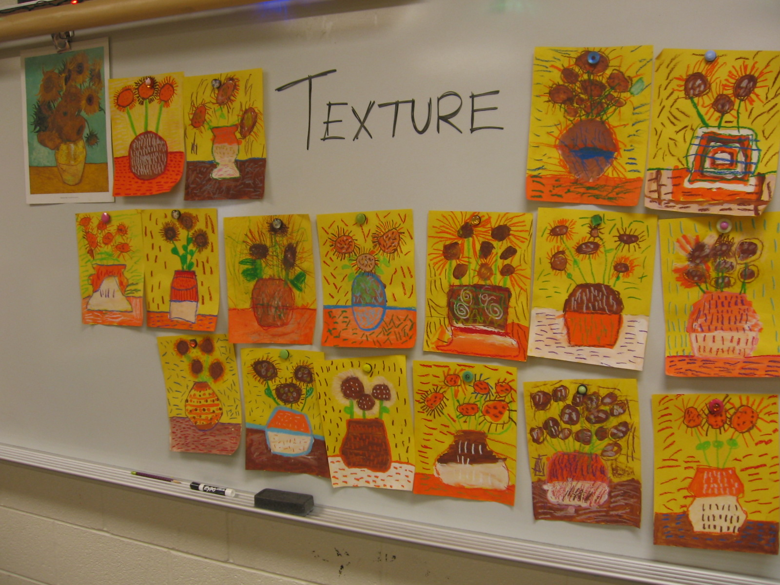 Art With Mrs Kim Vincent Van Gogh Sunflowers By 2nd Grade