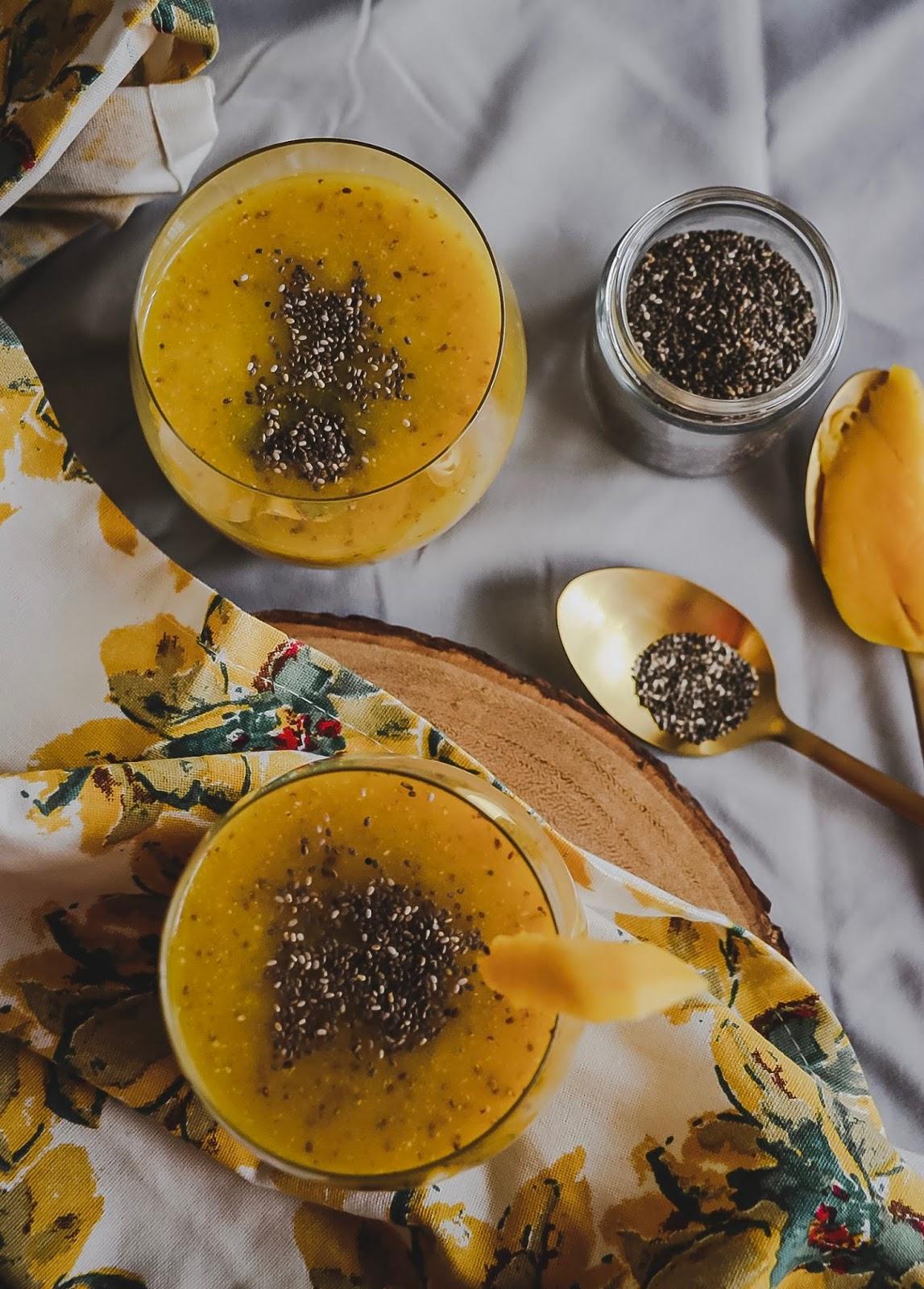 chia drink, mango coconut chia drink, summer drink, mango, vegan, gluten free drink, food, myriad musings.