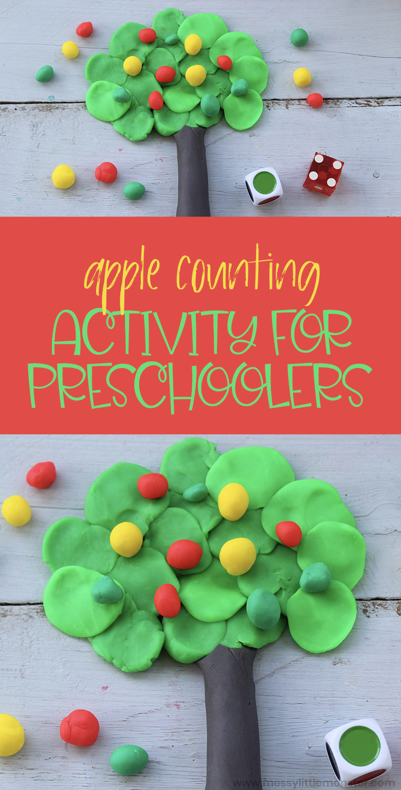 Apple theme counting activity for preschoolers. This apple playdough activity is a fun way to help preschoolers learn to count.