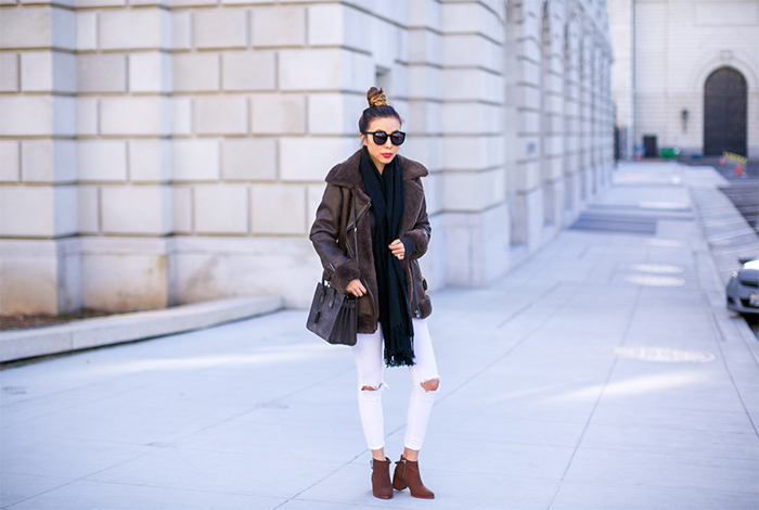 warehouse faux shearling aviator jacket, faux shearling aviator jacket, acne studio scarf, karen walker super duper sunglasses, asos skinny jeans, matt bernson ankle booties, saint laurent baby sac de jour bag, winter outfit ideas, san francisco style blog, san francisco street style