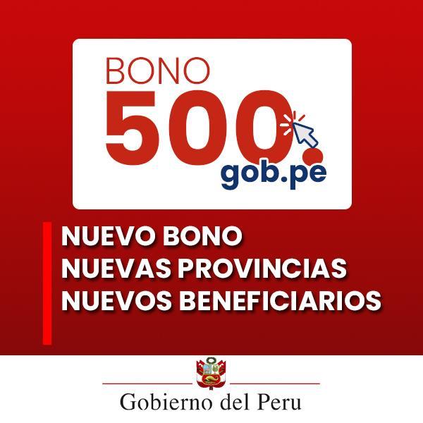 Bono Extraordinario Alquiler de Inmueble de 500 soles. Nuevas provincias beneficiarias