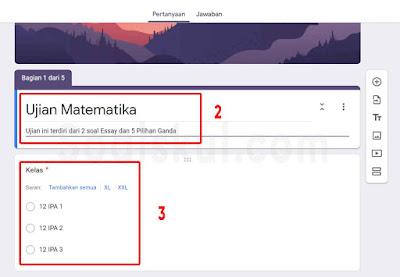 langkah 2-3 pertanyaan bercabang gform