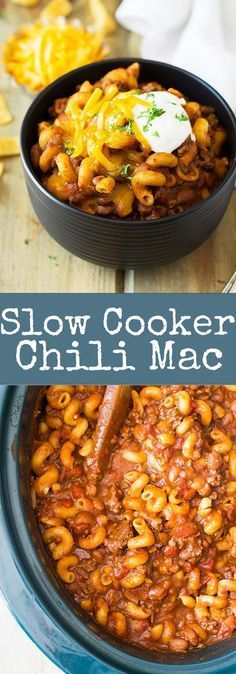 Slow Cooker Chili Mac #dinner #maincourse #slowcooker #chili #mac