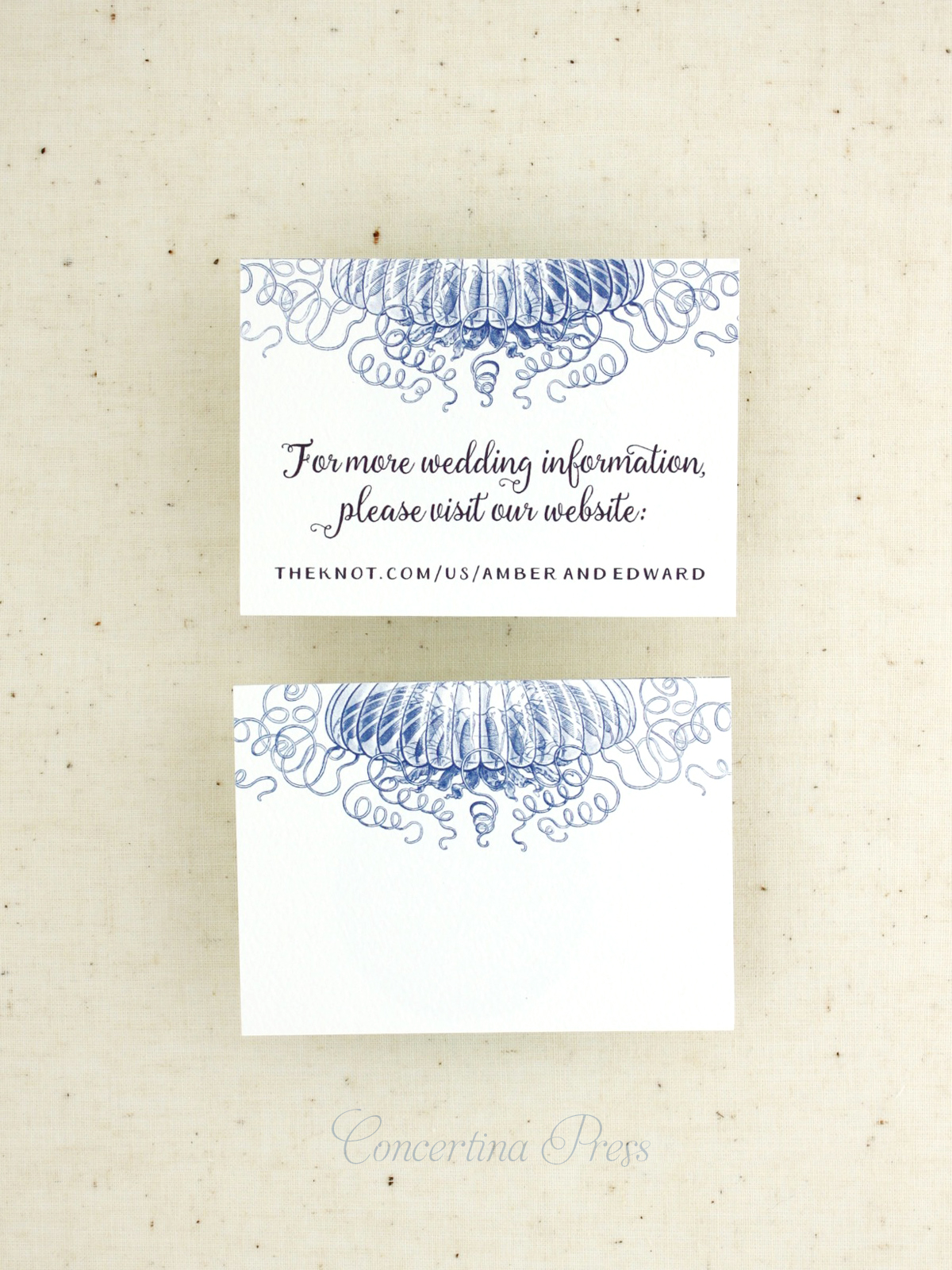 Jellyfish wedding website insert cards from Concertina Press