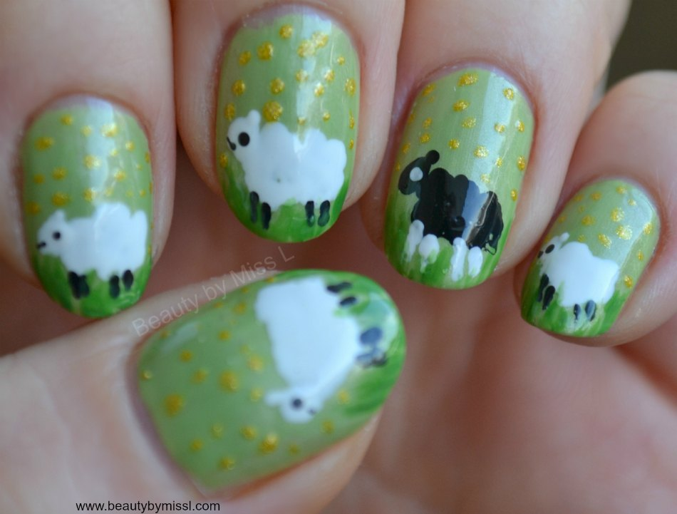 Spring Sheep nail art