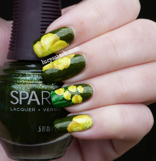 Lucy's Stash - Buttercups nail art manicure. Featuring SpaRitual Optical Illusion