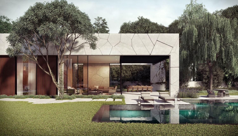 Dise o de casa en forma de l con piscina dise o de casas for Casas mi jardin