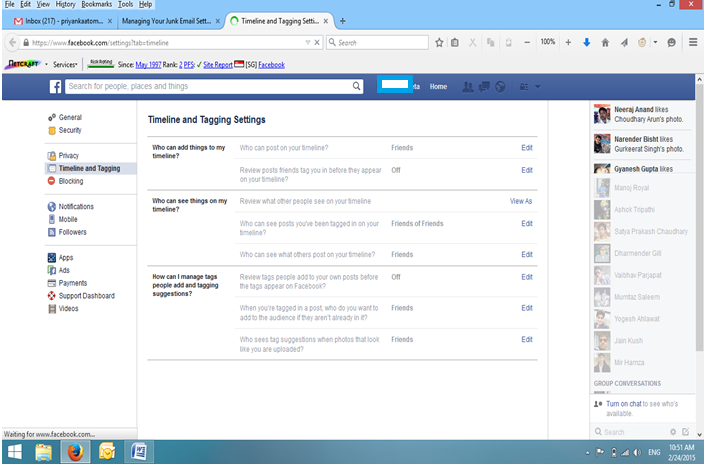 Privacy Settings -Social Networking Websites