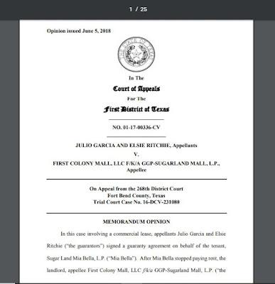 Garcia v First Colony Mall, LLC (Tex.App. - Houston [1st Dist.] Jun. 5, 2018, no pet h.)