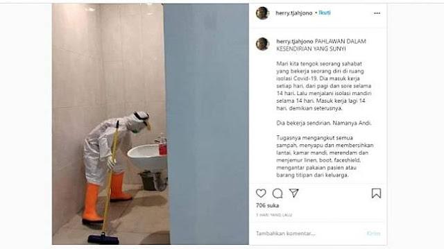 Viral Kisah Andi, Si Petugas Kebersihan yang Bekerja Sendiri Saat Pandemi