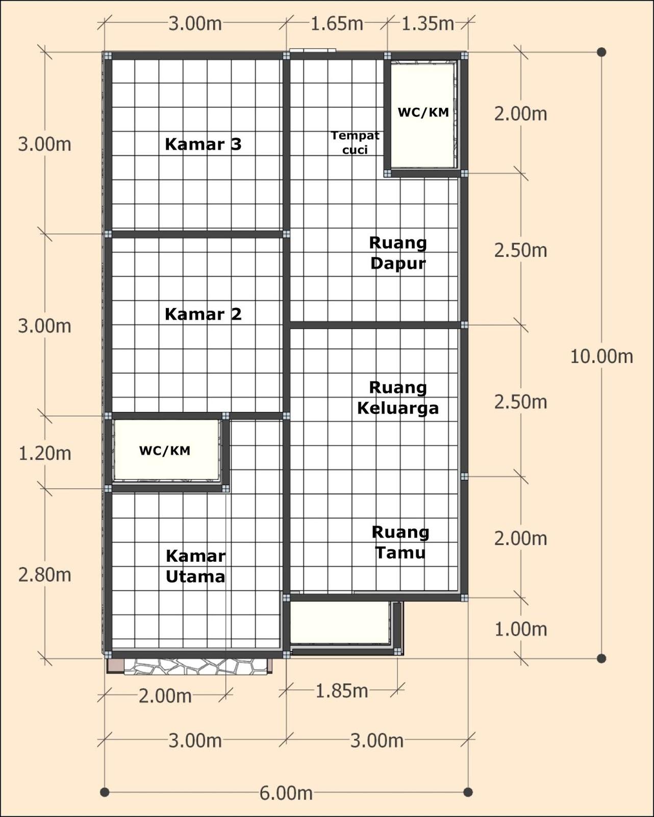 Desain dan Denah Rumah Minimalis Sederhana 6x10 meter 3 ...